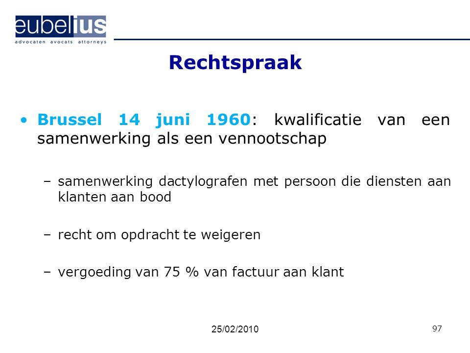 Rechtspraak Brussel 14 juni 1960: kwalificatie van een samenwerking als een vennootschap –samenwerking dactylografen met persoon die diensten aan klan