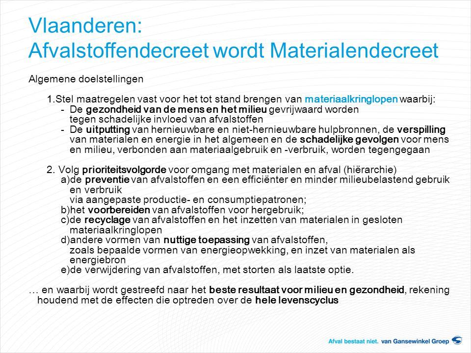 Vlaanderen: Afvalstoffendecreet wordt Materialendecreet Algemene doelstellingen 1.Stel maatregelen vast voor het tot stand brengen van materiaalkringl
