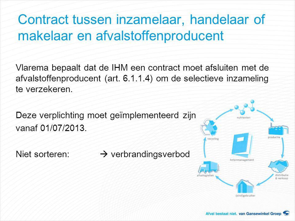 Contract tussen inzamelaar, handelaar of makelaar en afvalstoffenproducent Vlarema bepaalt dat de IHM een contract moet afsluiten met de afvalstoffenp