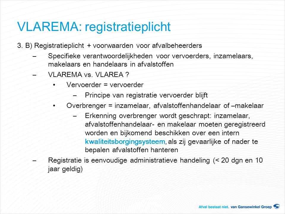 VLAREMA: registratieplicht 3. B) Registratieplicht + voorwaarden voor afvalbeheerders –Specifieke verantwoordelijkheden voor vervoerders, inzamelaars,