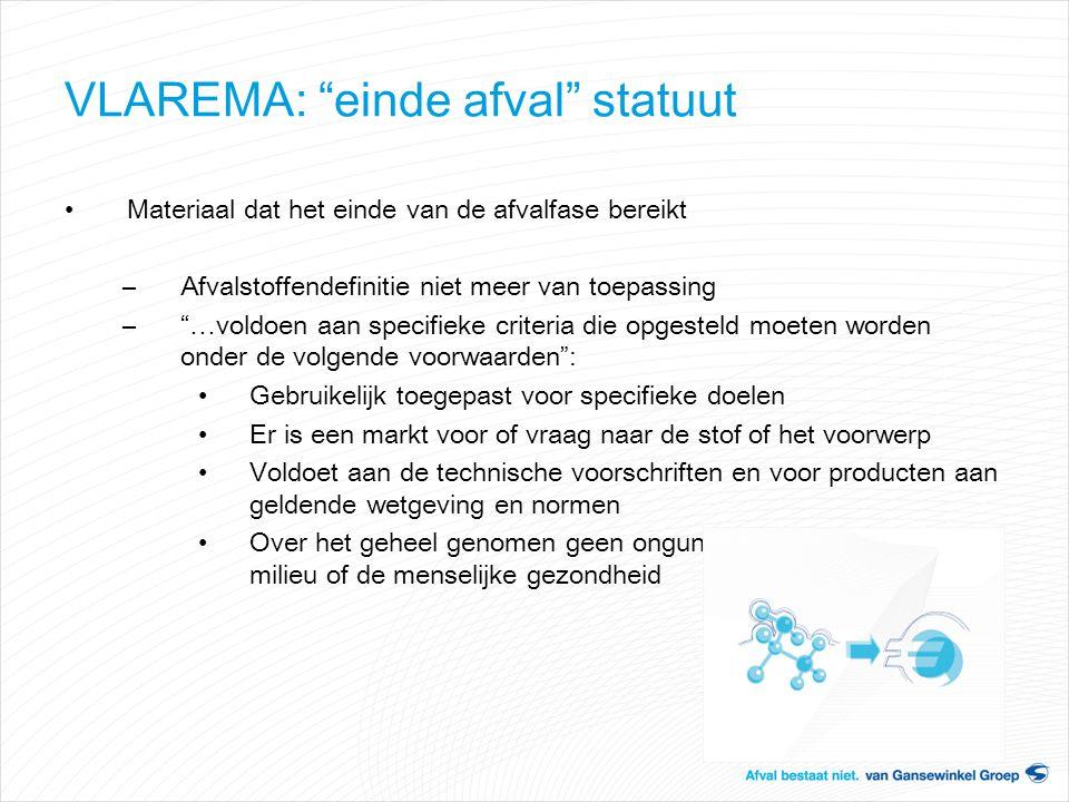 """VLAREMA: """"einde afval"""" statuut Materiaal dat het einde van de afvalfase bereikt –Afvalstoffendefinitie niet meer van toepassing –""""…voldoen aan specifi"""