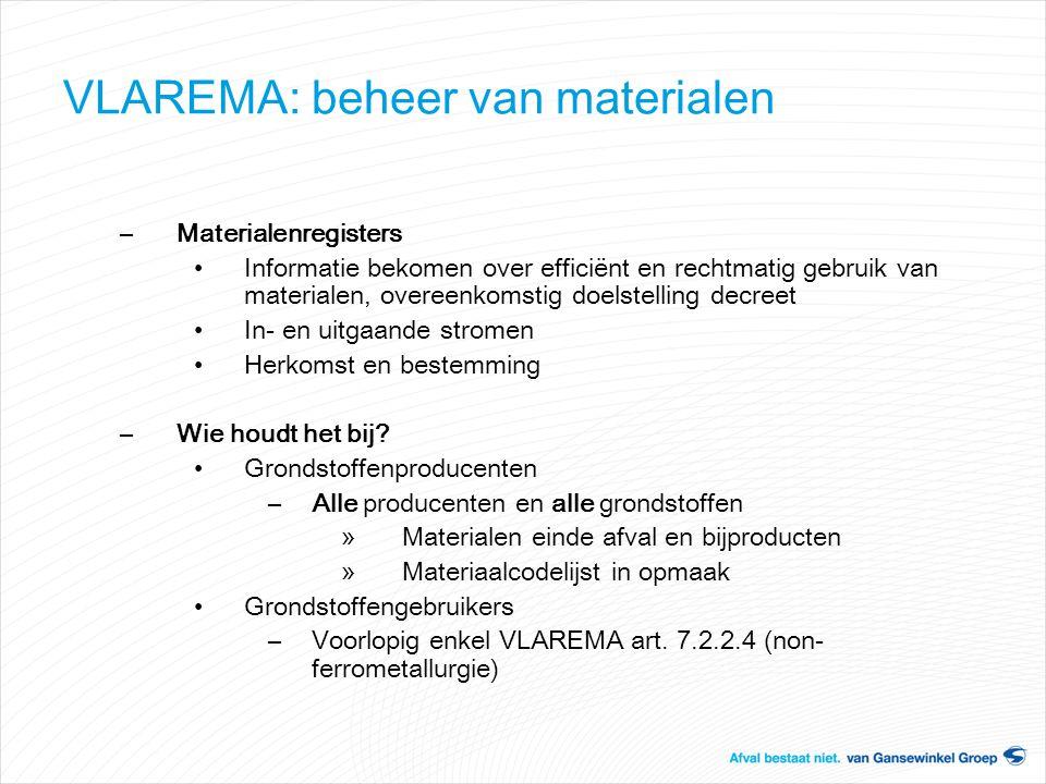 VLAREMA: beheer van materialen –Materialenregisters Informatie bekomen over efficiënt en rechtmatig gebruik van materialen, overeenkomstig doelstellin