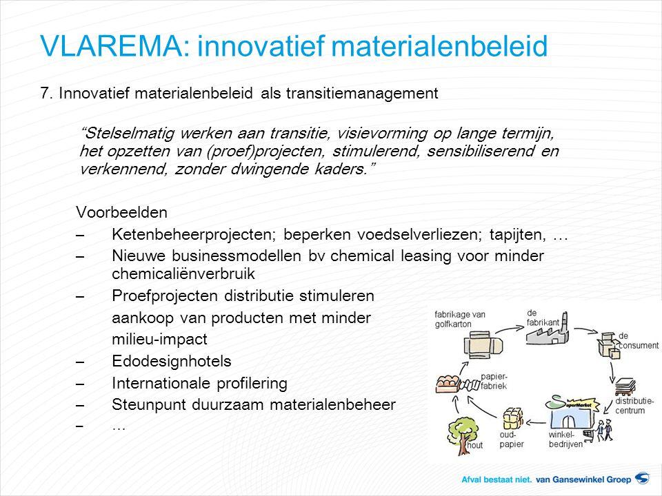 """VLAREMA: innovatief materialenbeleid 7. Innovatief materialenbeleid als transitiemanagement """"Stelselmatig werken aan transitie, visievorming op lange"""