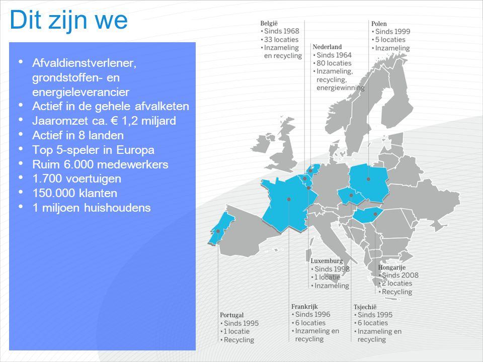 Dit zijn we Afvaldienstverlener, grondstoffen- en energieleverancier Actief in de gehele afvalketen Jaaromzet ca. € 1,2 miljard Actief in 8 landen Top