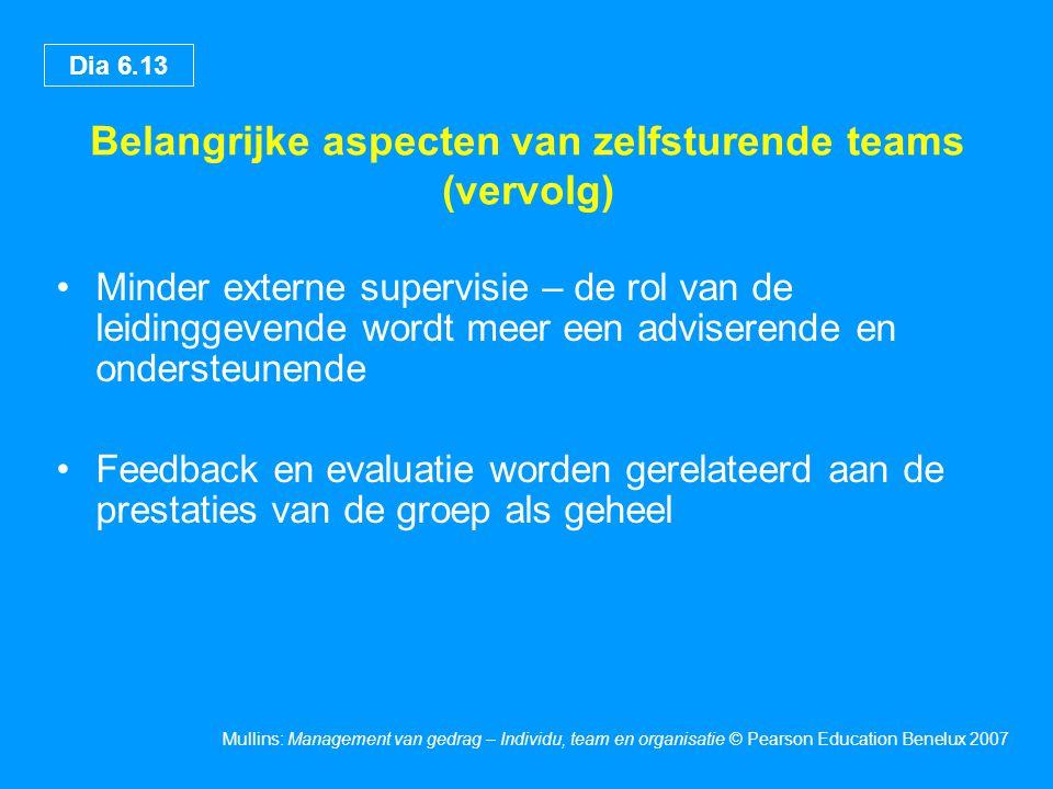 Dia 6.13 Mullins: Management van gedrag – Individu, team en organisatie © Pearson Education Benelux 2007 Belangrijke aspecten van zelfsturende teams (