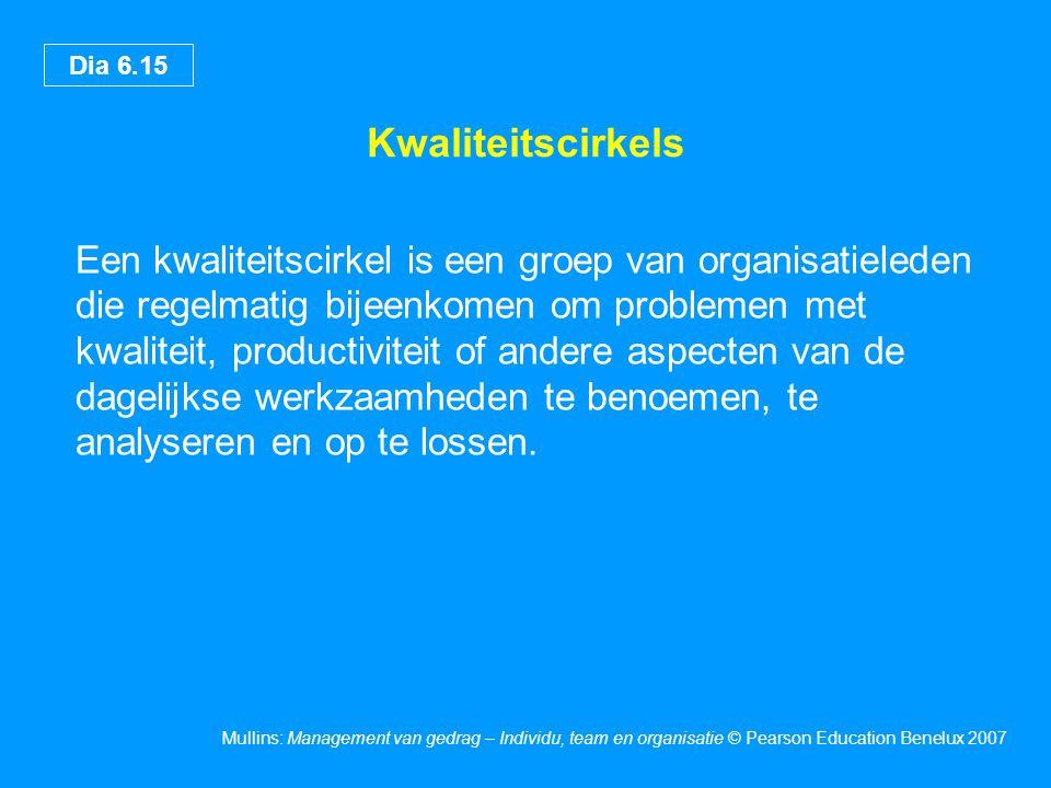 Dia 6.15 Mullins: Management van gedrag – Individu, team en organisatie © Pearson Education Benelux 2007 Kwaliteitscirkels Een kwaliteitscirkel is een