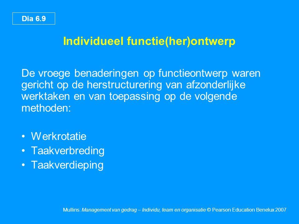 Dia 6.9 Mullins: Management van gedrag – Individu, team en organisatie © Pearson Education Benelux 2007 Individueel functie(her)ontwerp De vroege bena