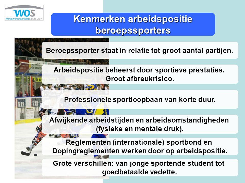 Kenmerken arbeidspositie beroepssporters Arbeidspositie beheerst door sportieve prestaties. Groot afbreukrisico. Professionele sportloopbaan van korte