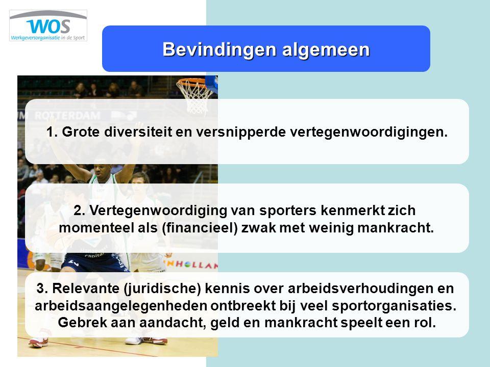 Bevindingen algemeen 2. Vertegenwoordiging van sporters kenmerkt zich momenteel als (financieel) zwak met weinig mankracht. 1. Grote diversiteit en ve
