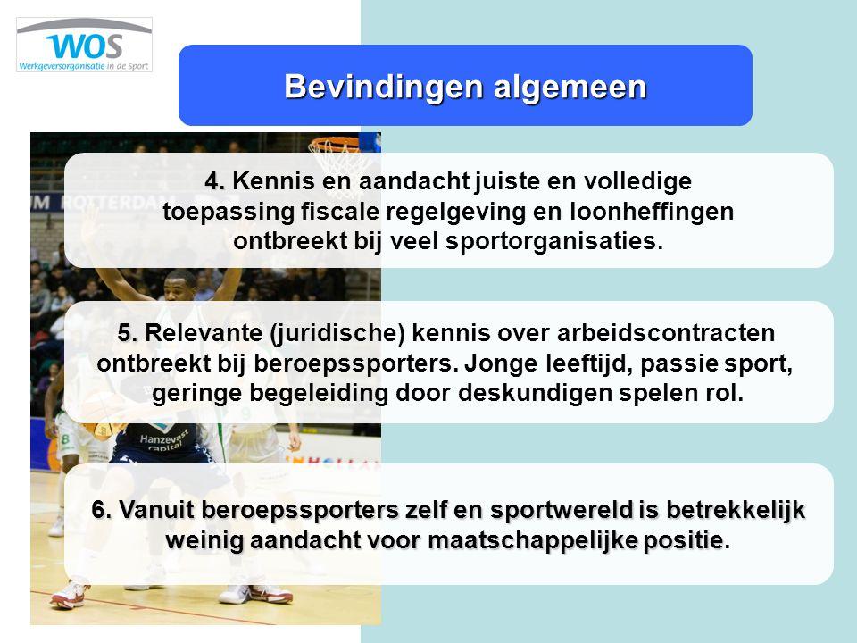 Bevindingen algemeen 4. 4. Kennis en aandacht juiste en volledige toepassing fiscale regelgeving en loonheffingen ontbreekt bij veel sportorganisaties