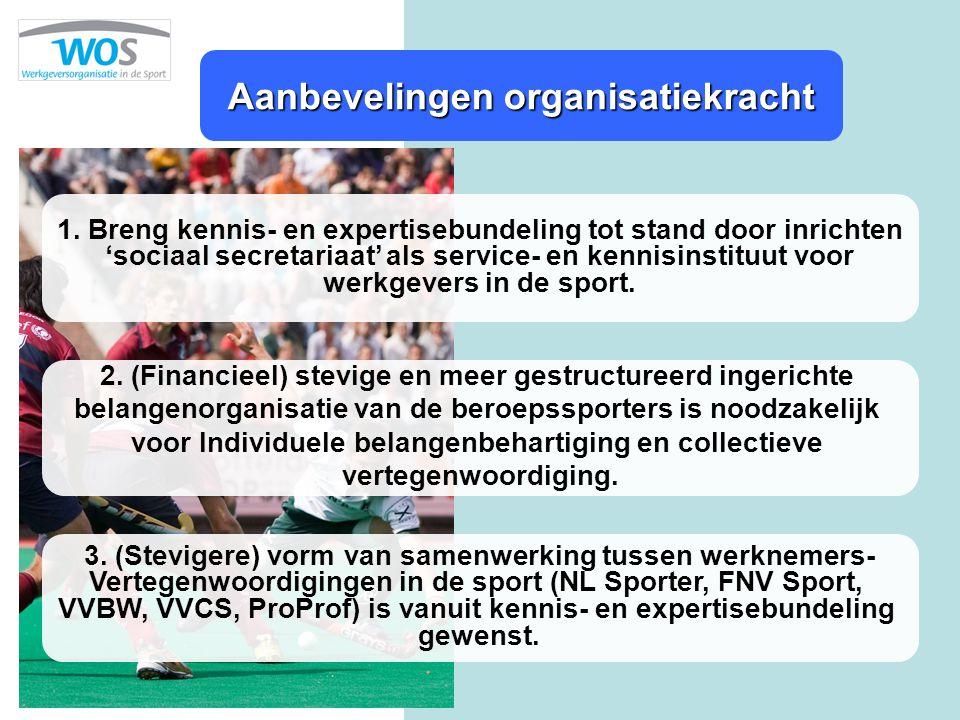 Aanbevelingen organisatiekracht 1. Breng kennis- en expertisebundeling tot stand door inrichten 'sociaal secretariaat' als service- en kennisinstituut