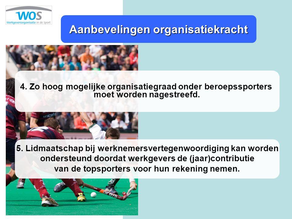 Aanbevelingen organisatiekracht 4. Zo hoog mogelijke organisatiegraad onder beroepssporters moet worden nagestreefd. 5. Lidmaatschap bij werknemersver
