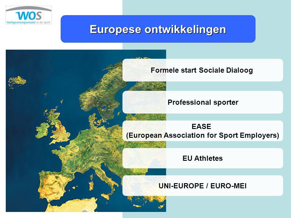 Europese ontwikkelingen Formele start Sociale Dialoog Professional sporter EASE (European Association for Sport Employers) EU Athletes UNI-EUROPE / EU