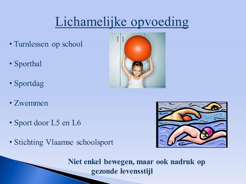 Lichamelijke opvoeding Turnlessen op school Sporthal Sportdag Zwemmen Sport door L5 en L6 Stichting Vlaamse schoolsport Niet enkel bewegen, maar ook n