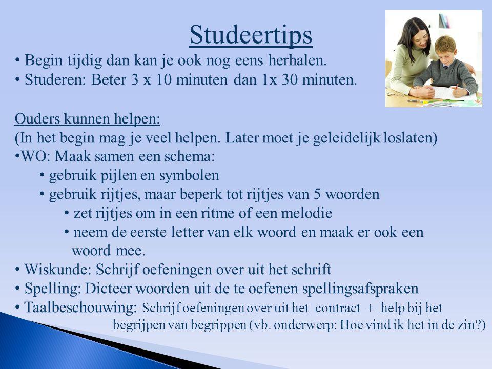 Studeertips Begin tijdig dan kan je ook nog eens herhalen. Studeren: Beter 3 x 10 minuten dan 1x 30 minuten. Ouders kunnen helpen: (In het begin mag j