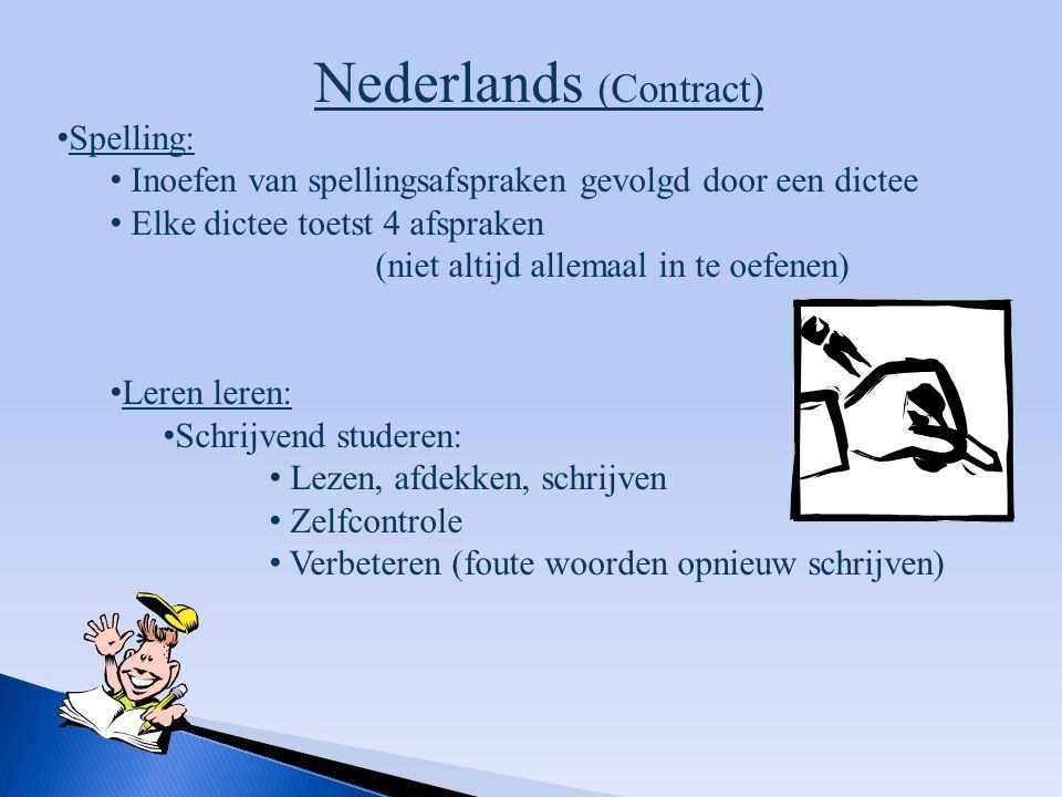 Nederlands (Contract) Spelling: Inoefen van spellingsafspraken gevolgd door een dictee Elke dictee toetst 4 afspraken (niet altijd allemaal in te oefe