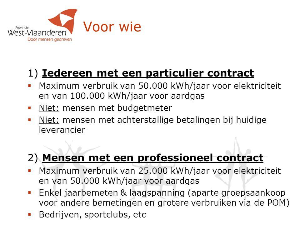 Voor wie 1) Iedereen met een particulier contract  Maximum verbruik van 50.000 kWh/jaar voor elektriciteit en van 100.000 kWh/jaar voor aardgas  Nie
