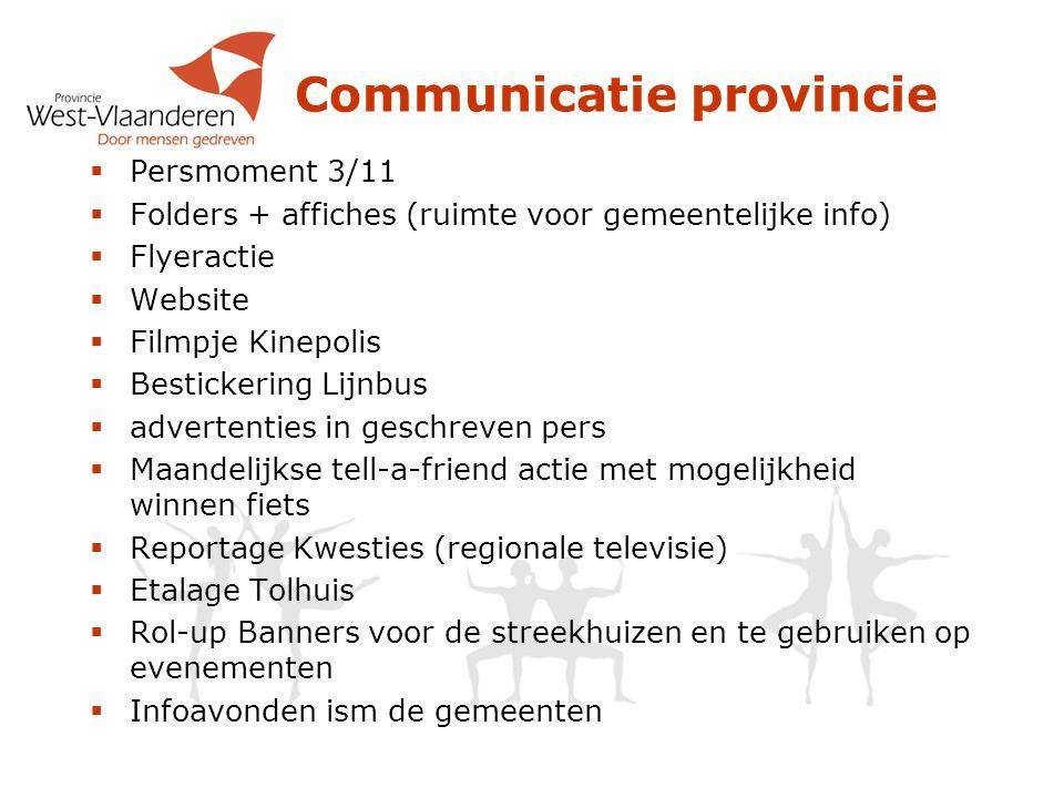 Communicatie provincie  Persmoment 3/11  Folders + affiches (ruimte voor gemeentelijke info)  Flyeractie  Website  Filmpje Kinepolis  Bestickeri