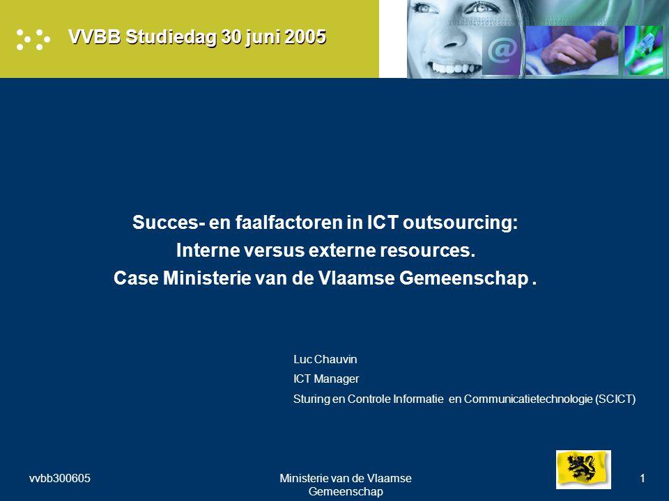 vvbb300605Ministerie van de Vlaamse Gemeenschap 1 VVBB Studiedag 30 juni 2005 Succes- en faalfactoren in ICT outsourcing: Interne versus externe resources.