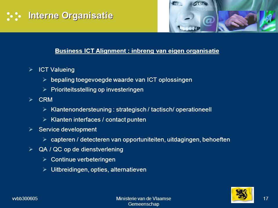 vvbb300605Ministerie van de Vlaamse Gemeenschap 17 Interne Organisatie Business ICT Alignment : inbreng van eigen organisatie  ICT Valueing  bepaling toegevoegde waarde van ICT oplossingen  Prioriteitsstelling op investeringen  CRM  Klantenondersteuning : strategisch / tactisch/ operationeell  Klanten interfaces / contact punten  Service development  capteren / detecteren van opportuniteiten, uitdagingen, behoeften  QA / QC op de dienstverlening  Continue verbeteringen  Uitbreidingen, opties, alternatieven