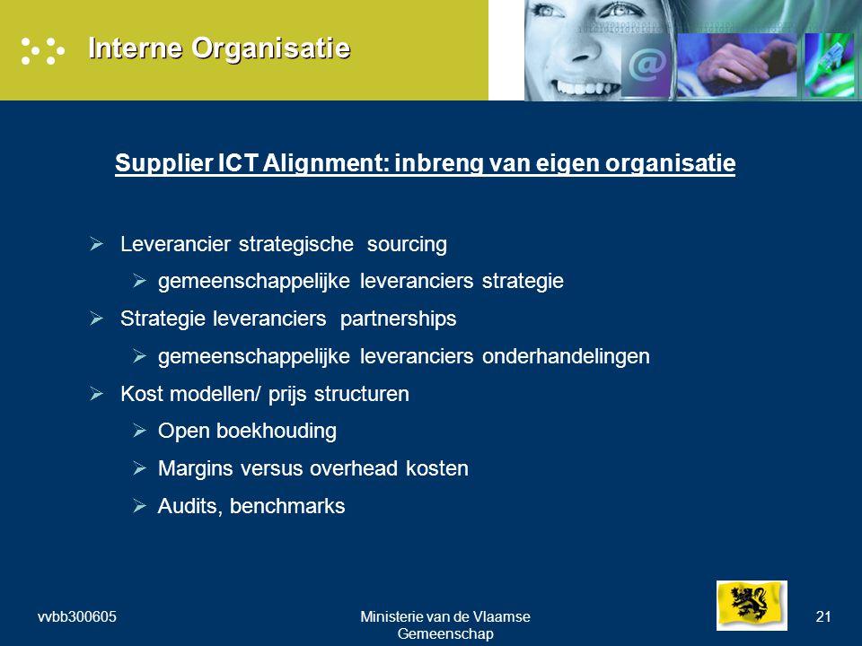 vvbb300605Ministerie van de Vlaamse Gemeenschap 21 Interne Organisatie Supplier ICT Alignment: inbreng van eigen organisatie  Leverancier strategische sourcing  gemeenschappelijke leveranciers strategie  Strategie leveranciers partnerships  gemeenschappelijke leveranciers onderhandelingen  Kost modellen/ prijs structuren  Open boekhouding  Margins versus overhead kosten  Audits, benchmarks