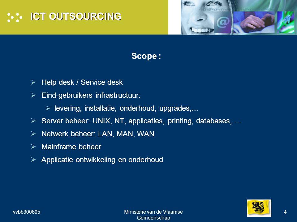 vvbb300605Ministerie van de Vlaamse Gemeenschap 4 ICT OUTSOURCING Scope :  Help desk / Service desk  Eind-gebruikers infrastructuur:  levering, installatie, onderhoud, upgrades,...