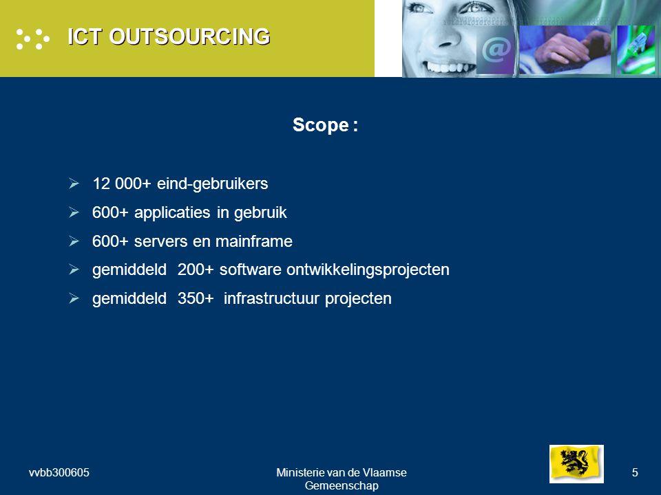 vvbb300605Ministerie van de Vlaamse Gemeenschap 5 ICT OUTSOURCING Scope :  12 000+ eind-gebruikers  600+ applicaties in gebruik  600+ servers en mainframe  gemiddeld 200+ software ontwikkelingsprojecten  gemiddeld 350+ infrastructuur projecten