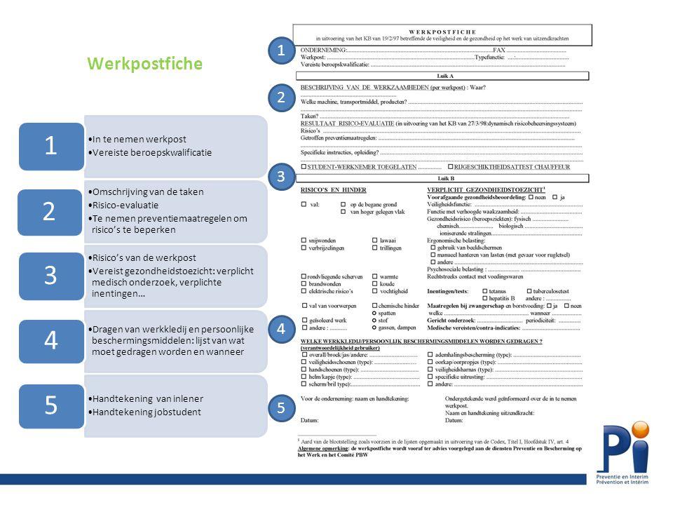 1 Werkpostfiche 2 3 4 In te nemen werkpost Vereiste beroepskwalificatie 1 Omschrijving van de taken Risico-evaluatie Te nemen preventiemaatregelen om