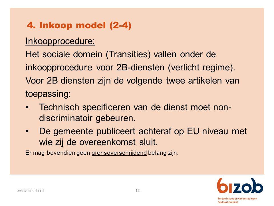 10 4. Inkoop model (2-4) Inkoopprocedure: Het sociale domein (Transities) vallen onder de inkoopprocedure voor 2B-diensten (verlicht regime). Voor 2B