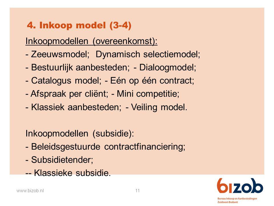 11 4. Inkoop model (3-4) Inkoopmodellen (overeenkomst): - Zeeuwsmodel; Dynamisch selectiemodel; - Bestuurlijk aanbesteden; - Dialoogmodel; - Catalogus