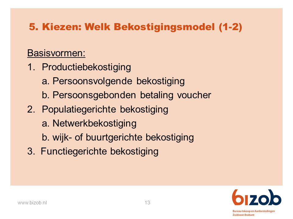 13 5. Kiezen: Welk Bekostigingsmodel (1-2) Basisvormen: 1.Productiebekostiging a. Persoonsvolgende bekostiging b. Persoonsgebonden betaling voucher 2.