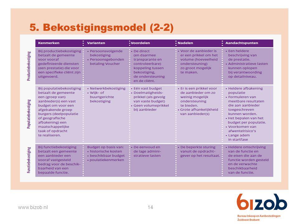14 5. Bekostigingsmodel (2-2) www.bizob.nl