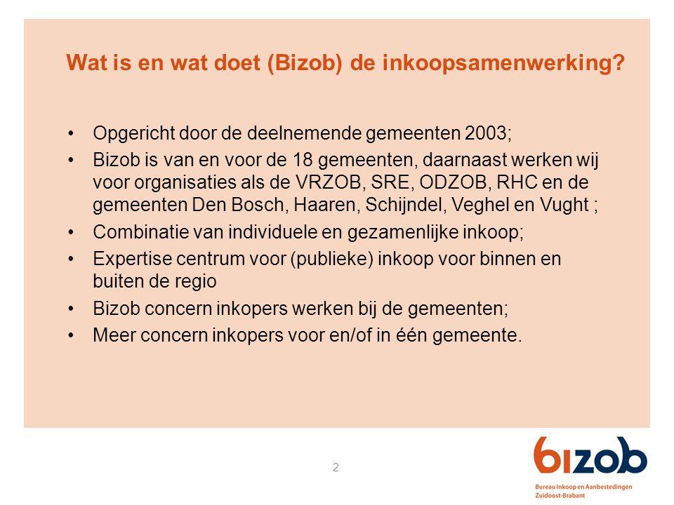 2 Wat is en wat doet (Bizob) de inkoopsamenwerking? Opgericht door de deelnemende gemeenten 2003; Bizob is van en voor de 18 gemeenten, daarnaast werk