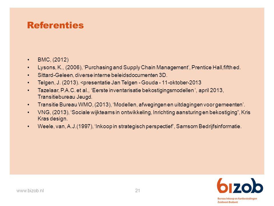 21 Referenties BMC, (2012) Lysons, K., (2006), 'Purchasing and Supply Chain Management', Prentice Hall,fifth ed. Sittard-Geleen, diverse interne belei
