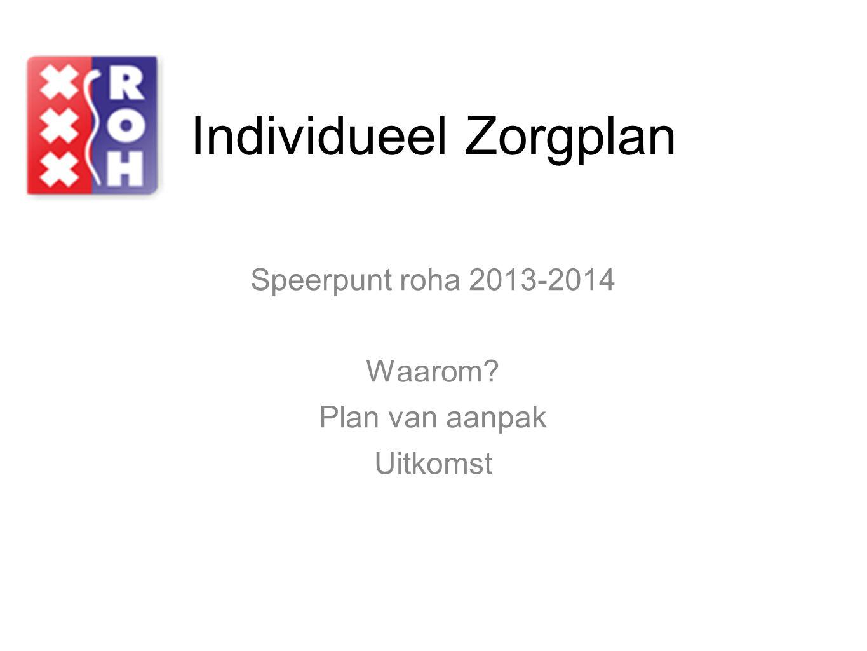 Individueel Zorgplan Speerpunt roha 2013-2014 Waarom? Plan van aanpak Uitkomst