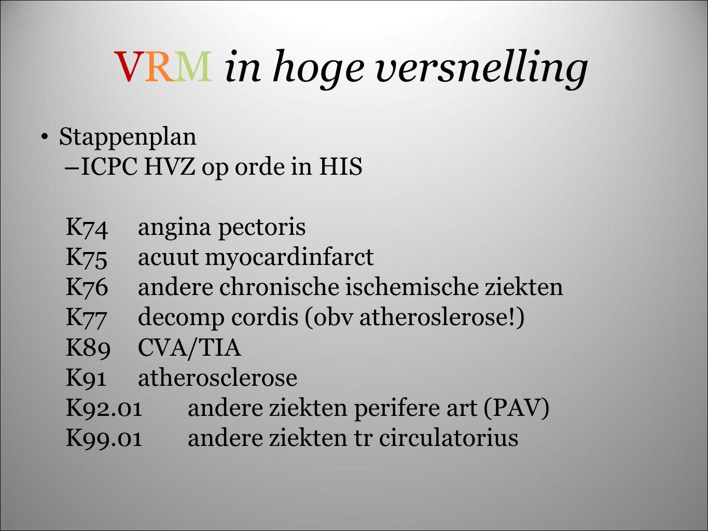 Stappenplan – ICPC HVZ op orde in HIS K74angina pectoris K75acuut myocardinfarct K76andere chronische ischemische ziekten K77decomp cordis (obv athero