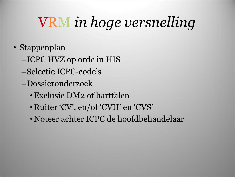 VRM in hoge versnelling Stappenplan – ICPC HVZ op orde in HIS – Selectie ICPC-code's – Dossieronderzoek Exclusie DM2 of hartfalen Ruiter 'CV', en/of '