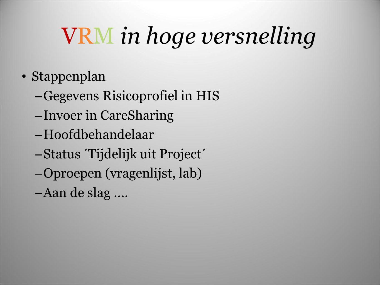 VRM in hoge versnelling Stappenplan – Gegevens Risicoprofiel in HIS – Invoer in CareSharing – Hoofdbehandelaar – Status ´Tijdelijk uit Project´ – Opro
