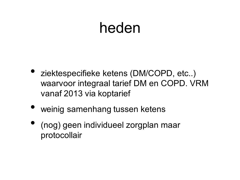 heden ziektespecifieke ketens (DM/COPD, etc..) waarvoor integraal tarief DM en COPD. VRM vanaf 2013 via koptarief weinig samenhang tussen ketens (nog)
