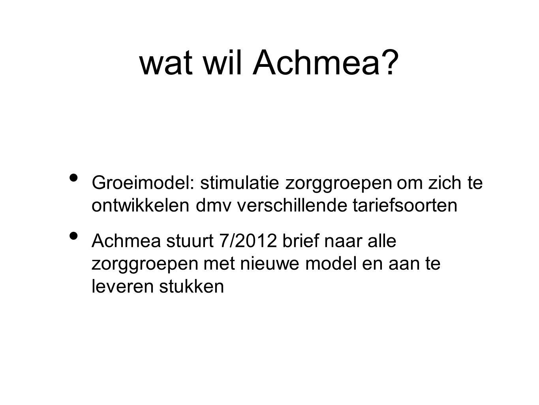 wat wil Achmea? Groeimodel: stimulatie zorggroepen om zich te ontwikkelen dmv verschillende tariefsoorten Achmea stuurt 7/2012 brief naar alle zorggro