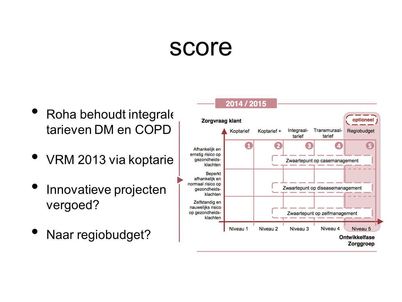 score Roha behoudt integrale tarieven DM en COPD VRM 2013 via koptarief Innovatieve projecten vergoed? Naar regiobudget?