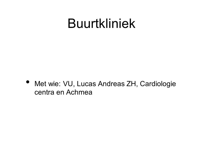 Buurtkliniek Met wie: VU, Lucas Andreas ZH, Cardiologie centra en Achmea