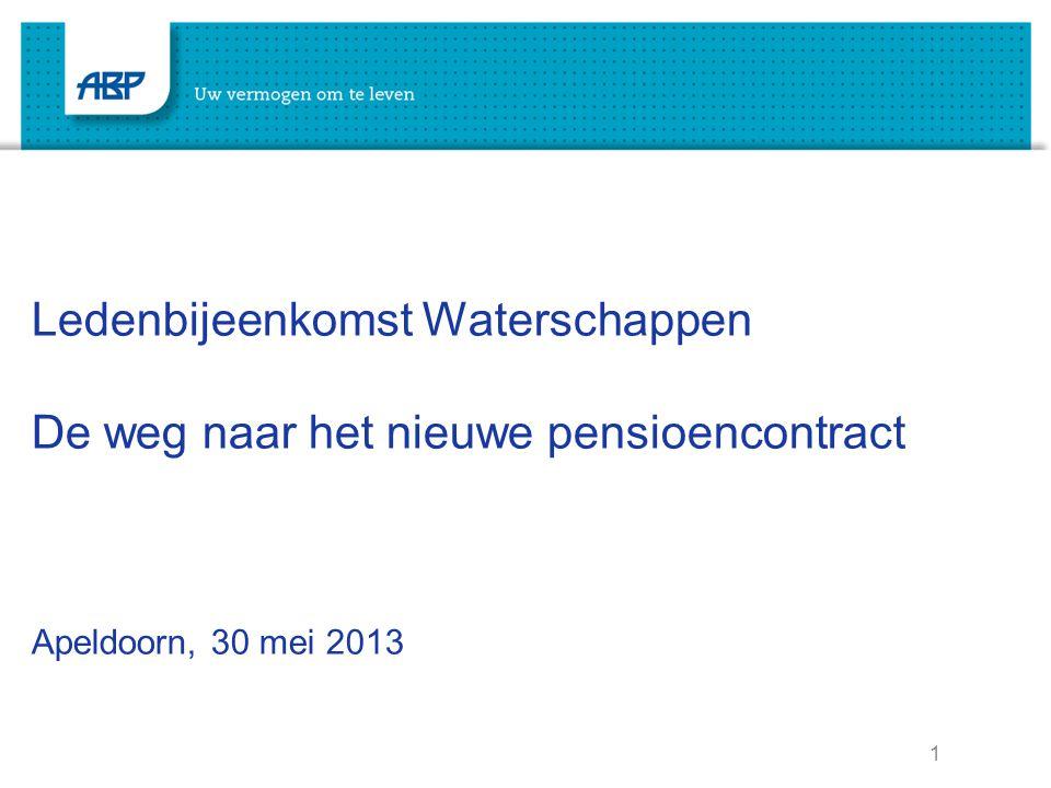 1 Ledenbijeenkomst Waterschappen De weg naar het nieuwe pensioencontract Apeldoorn, 30 mei 2013
