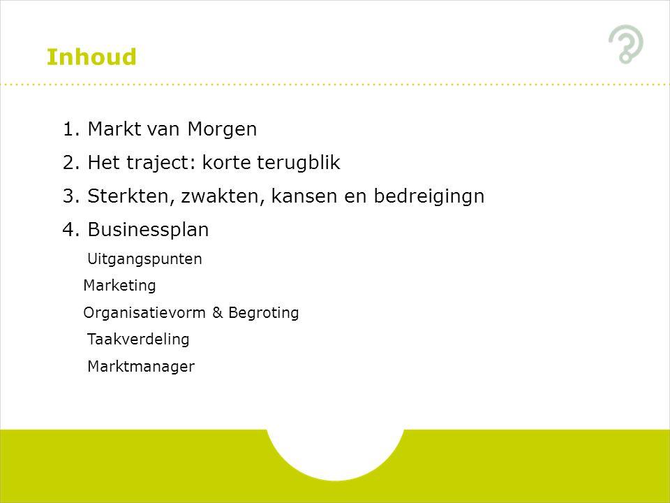 Inhoud 1.Markt van Morgen 2.Het traject: korte terugblik 3.Sterkten, zwakten, kansen en bedreigingn 4.Businessplan Uitgangspunten Marketing Organisatievorm & Begroting Taakverdeling Marktmanager