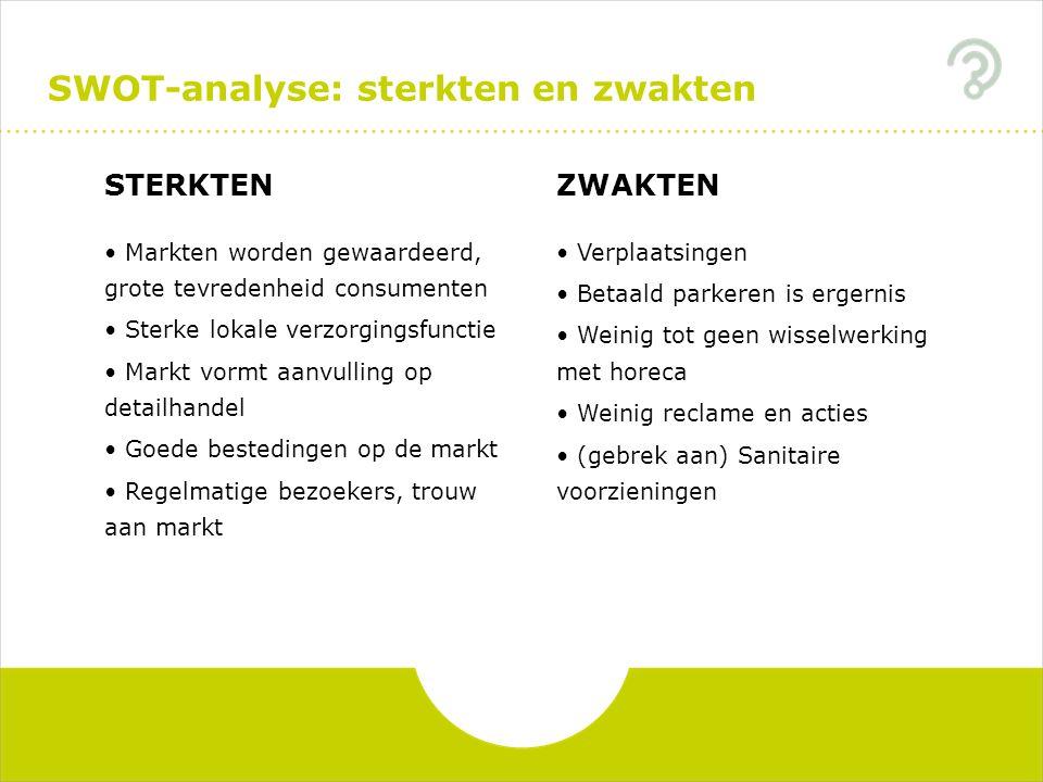 SWOT-analyse: sterkten en zwakten STERKTEN Markten worden gewaardeerd, grote tevredenheid consumenten Sterke lokale verzorgingsfunctie Markt vormt aan