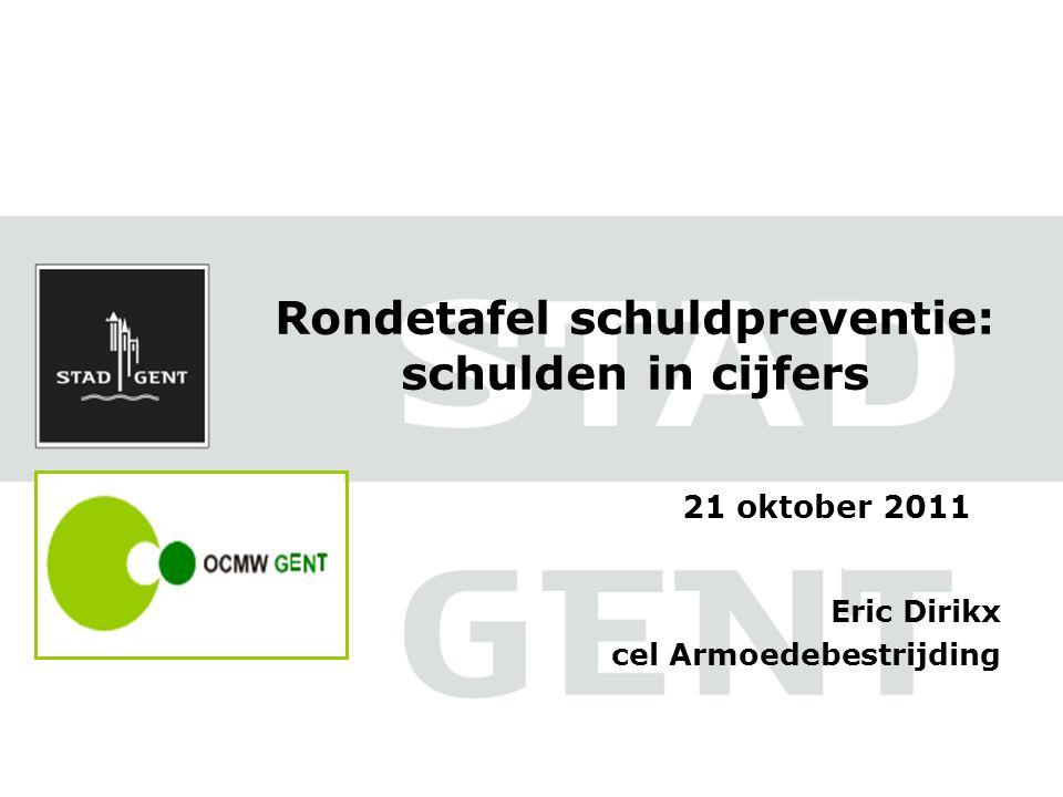 Rondetafel schuldpreventie: schulden in cijfers Eric Dirikx cel Armoedebestrijding 21 oktober 2011