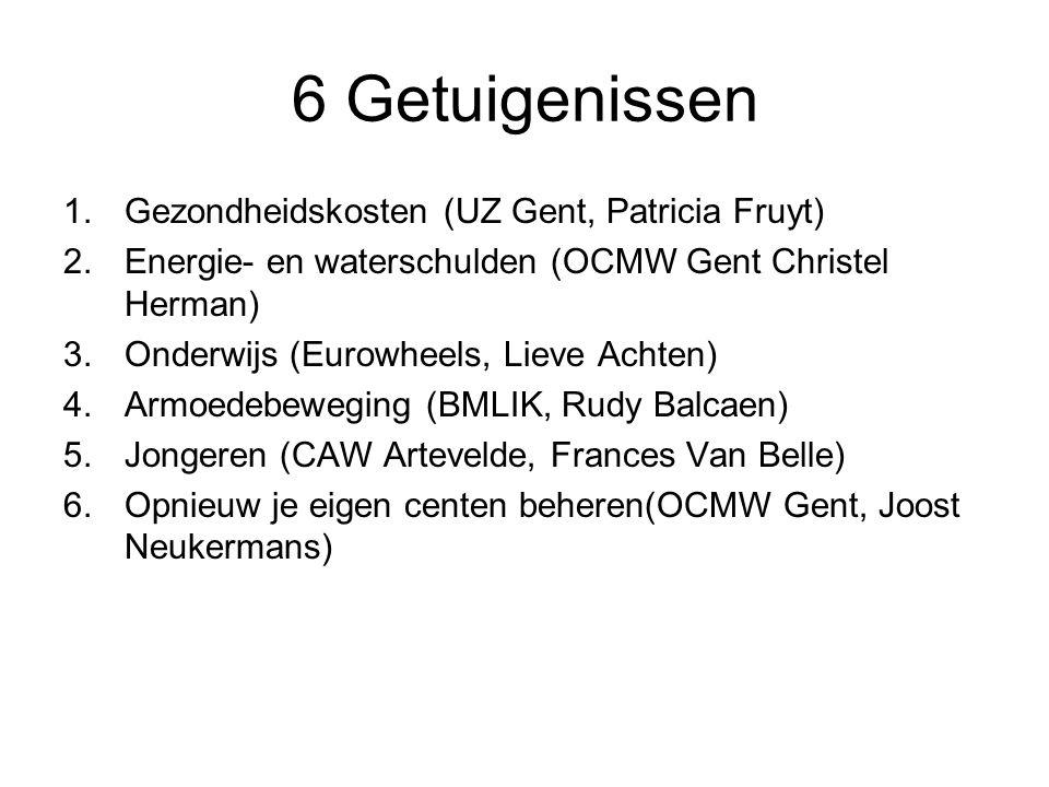 6 Getuigenissen 1.Gezondheidskosten (UZ Gent, Patricia Fruyt) 2.Energie- en waterschulden (OCMW Gent Christel Herman) 3.Onderwijs (Eurowheels, Lieve Achten) 4.Armoedebeweging (BMLIK, Rudy Balcaen) 5.Jongeren (CAW Artevelde, Frances Van Belle) 6.Opnieuw je eigen centen beheren(OCMW Gent, Joost Neukermans)