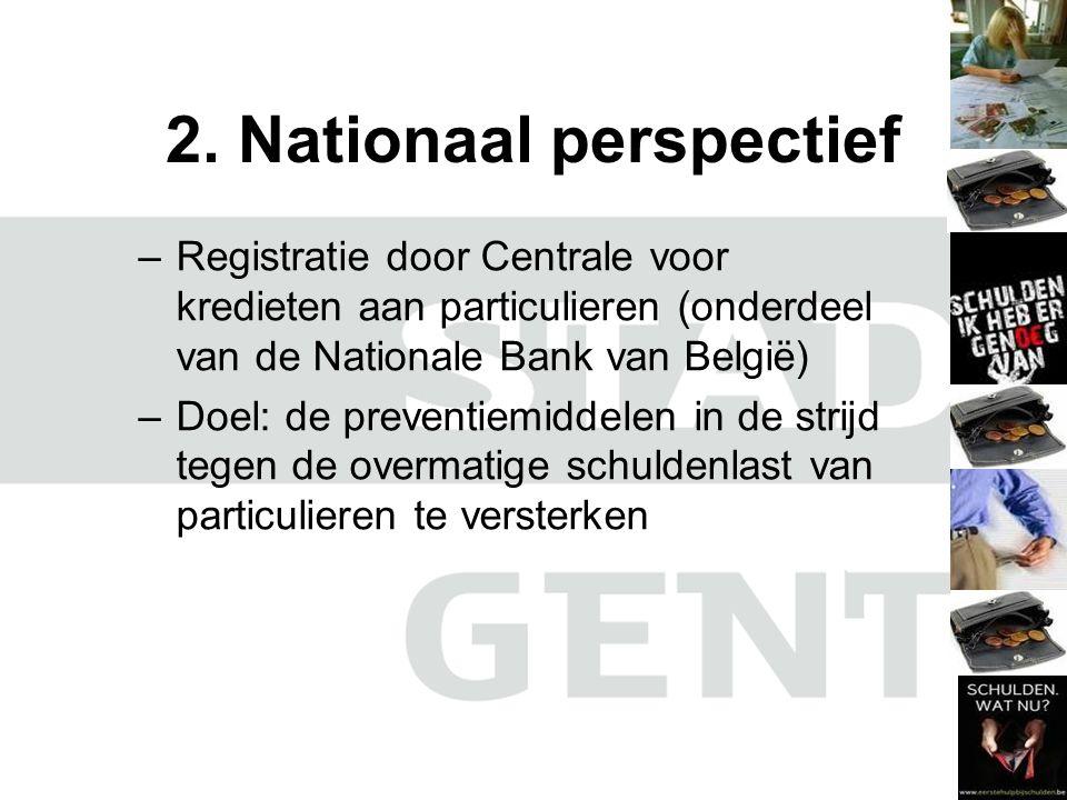 2. Nationaal perspectief –Registratie door Centrale voor kredieten aan particulieren (onderdeel van de Nationale Bank van België) –Doel: de preventiem