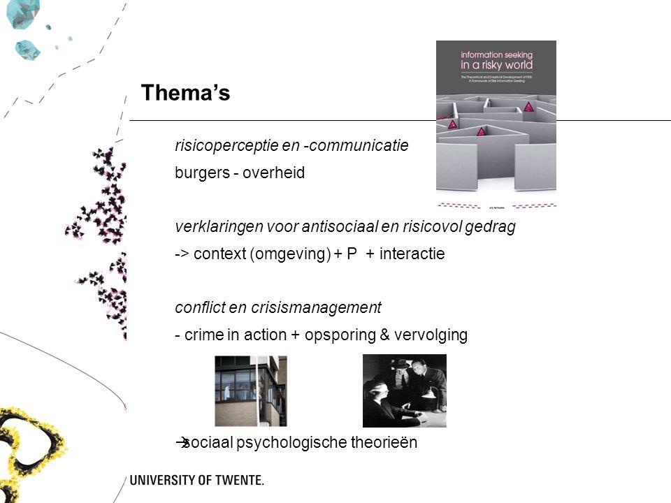 risicoperceptie en -communicatie burgers - overheid verklaringen voor antisociaal en risicovol gedrag -> context (omgeving) + P + interactie conflict
