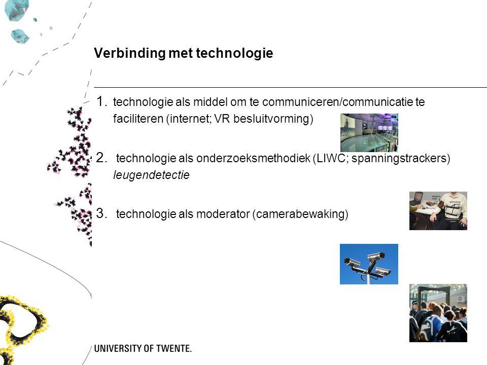 Verbinding met technologie 1. technologie als middel om te communiceren/communicatie te faciliteren (internet; VR besluitvorming) 2. technologie als o